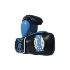 Sandee Boxing Gloves Neon Leather Black Blue Muay Thai Kickboxing MMA