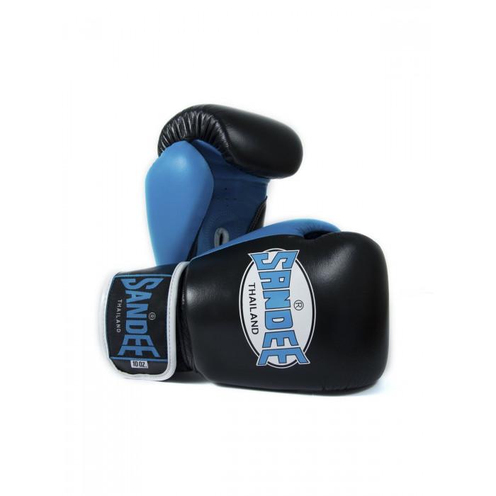 Sandee Boxing Gloves Neon Leather Black Blue Muay Thai Kickboxing MMA