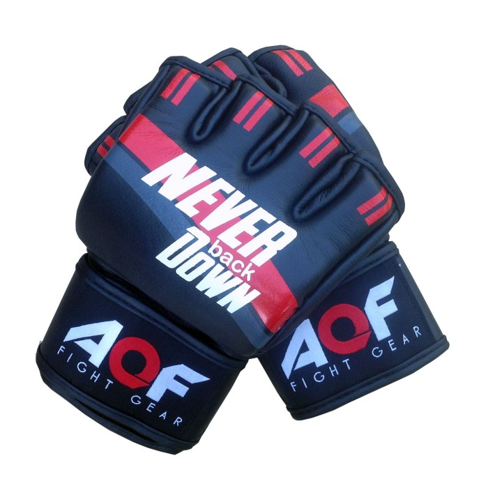 AQF Leather MMA Grappling Gloves UFC Cage Fight Boxing Punch Bag bjj