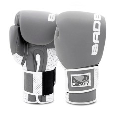 Bad Boy Boxing Gloves Legacy Prime Leather Grey White Kickboxing Boxing Training