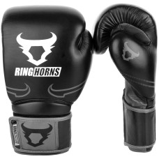 Ringhorns Destroyer by Venum Leather Boxing Gloves Sparring Black / Grey 10-16oz