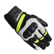 Leather Motorcycle Gloves Black White