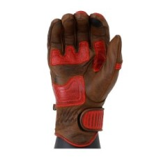 Red Motorbike Cafe Racer Leather Motorcycle Gloves