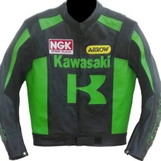 Kawasaki Men Racing Biker Leather Jacket