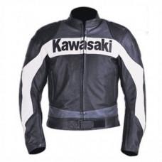 Full Protection Kawasaki Leather Jacket Black For Bikers