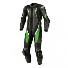 Kawasaki Black And Green Color Leather Motorbike Racing Suit