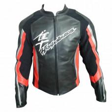 Men Handmade Hayabusa Suzuki Black Cowhide Racing Motorcycle Leather Jacket