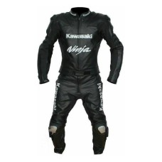 Men Handmade Kawasaki Ninja Black Racing Motorcycle Leather Suit