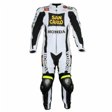 Men Honda San Carlo White Racing Motorcycle Leather Suit Jacket Pant Handmade