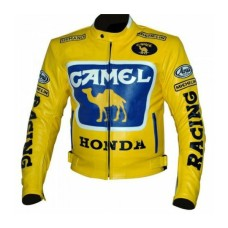 Mens Honda Camel Racing Motorcycle Yellow Leather Jacket