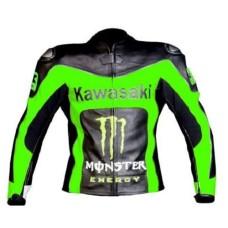 Mens Green Black Kawasaki Ninja Motorcycle Racing Leather Jacket