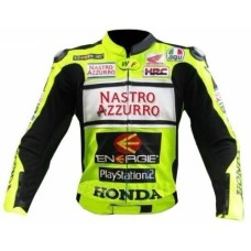 Mens Green Honda Nastro Motorcycle Racing Leather Jacket