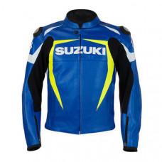 Suzuki Blue-Yellow Motorcycle Armoured Cowhide Leather Motorbike Jacket