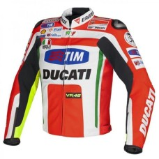 Tim Ducati Motorcycle MotoGp Leather Jacket CE Armor Protected Gear