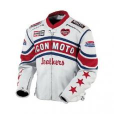 White Icon Moto Leather Jacket With CE Armor Icon Daytona Jacket