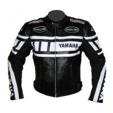 Yamaha Black And White Cowhide Leather Racing Motorcycle Jacket All Sizes