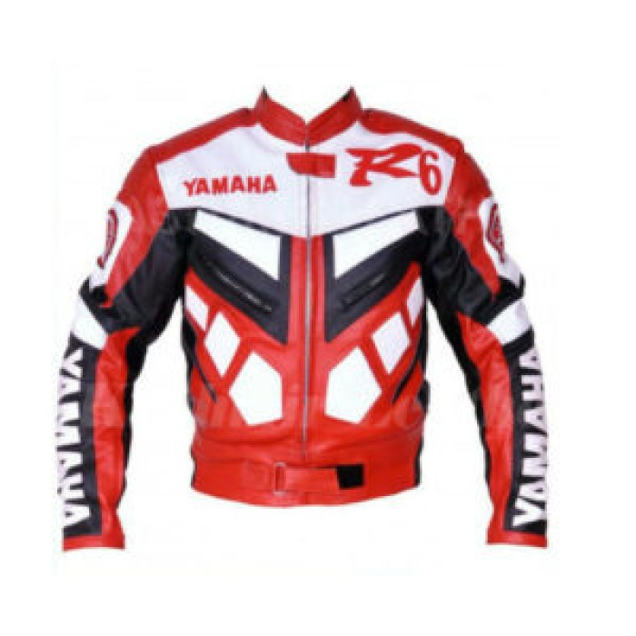 Yamaha YZF Red Motorcycle Racing Cowhide Leather Biker Jacket