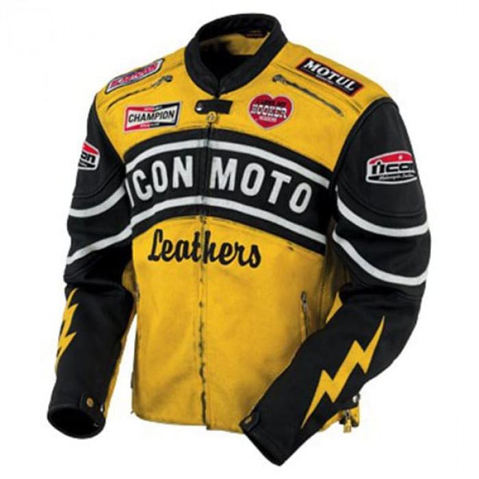 Yellow Icon Moto Leather Jacket With CE Armor Icon Daytona Jacket