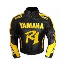 YZF Yamaha R1 R6 Motorbike Men's BLack Yellow Leather Jacket