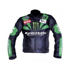 Kawasaki Team Black And Green Sports Biker Leather Jacket