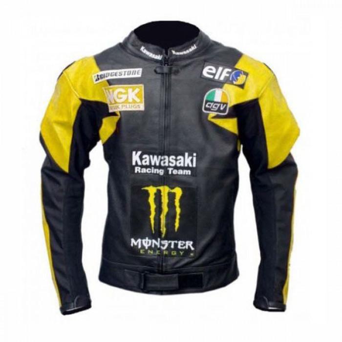 Yellow And Black Kawasaki Biker Leather Jacket