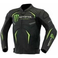 Monster Energy Scream Custom Made Best Quality Racing Leather Jacket For Mens