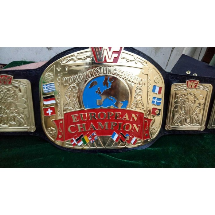 WWF European Wrestling Championship Belt.Adult Size 2mm plates