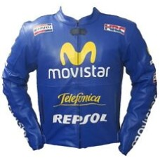 Movistar Custom Made Best Quality Racing Leather Jacket For Mens