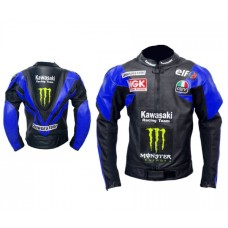 Kawasaki Black Blue Racing Leather jacket