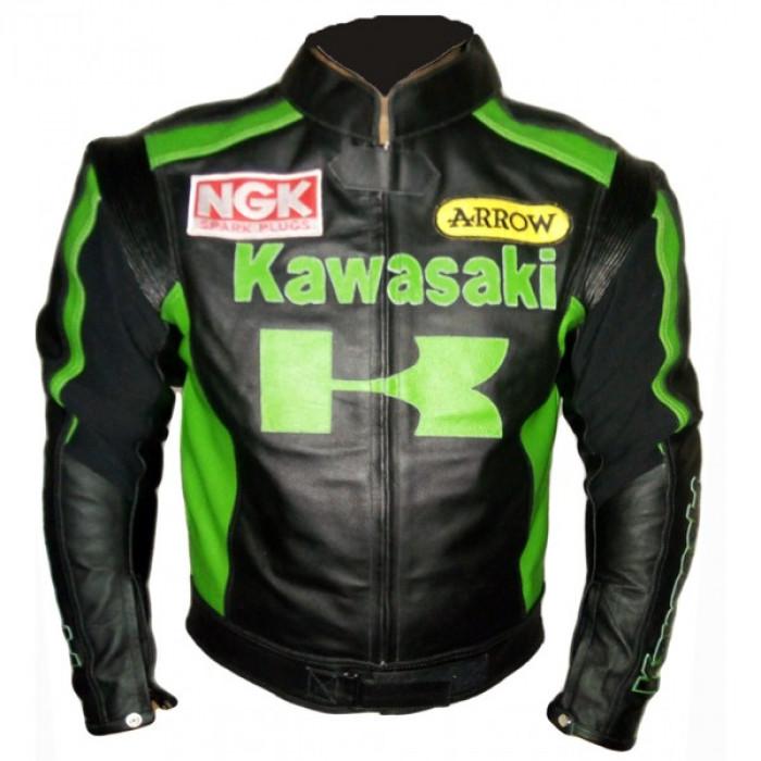 Kawasaki Black Geen Motorcycle Leather Jacket Men's