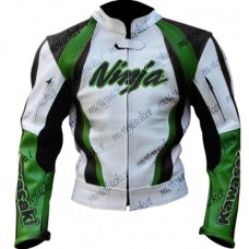 Kawasaki Ninja Green White cruiser Motorbike Leather Jacket Biker Gear Men