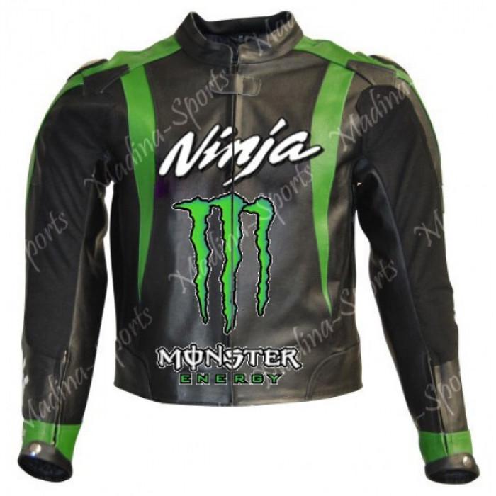 Kawasaki Ninja Monster Motorcycle Leather Jacket Men's