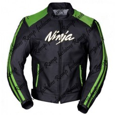 Kawasaki Ninja Motorbike Green Black 2017 Design Leather Jacket
