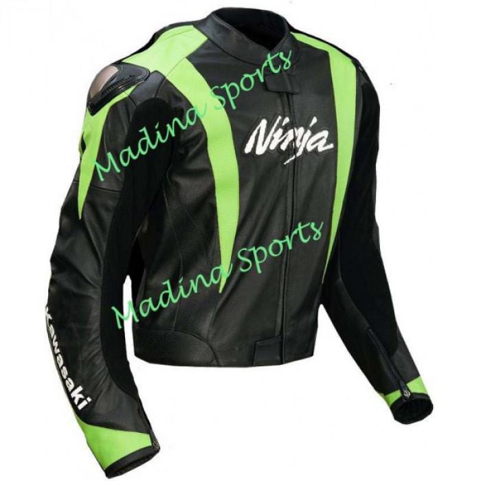 Kawasaki Ninja Motorbike Leather jacket Back Hump Proteted