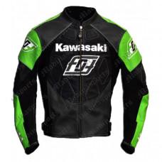 Kawasaki Ninja Motorbike Leather jacket Biker Jacket Green Black