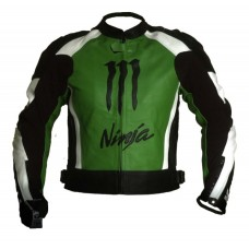 Kawasaki Ninja Motorbiker Green Racing Leather Jacket
