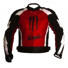 Kawasaki Ninja Motorbiker Red Racing Leather Jacket