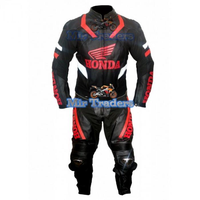 Honda wings Men's Black MotorBike Leather Men Suit, Honda Blcak Leather Suit