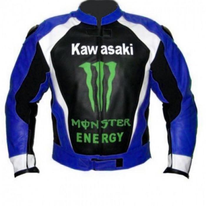 Kawasaki Monster Blue Motorcycle Biker Racing Leather Jacket