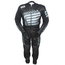 Honda Motorcycle Racing Black Biker Leather Suit