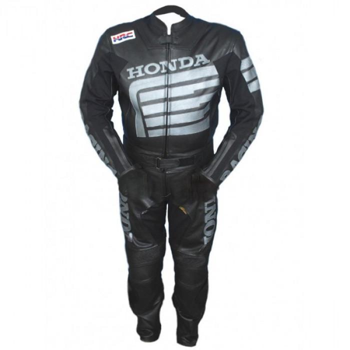 Honda Motorcycle Racing Black Biker Leather Suit