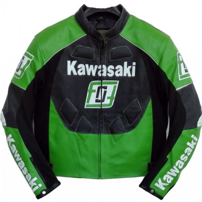 Kawasaki Green Motorcycle Biker Racing Leather Jacket