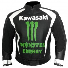 Kawasaki Motorcycle Motorbike Black Racing Monster Leather Jacket Men's