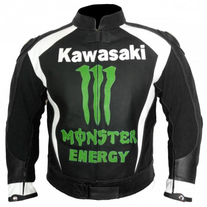 Kawasaki Motorcycle Motorbike Black Racing Monster Leather Jacket Men's