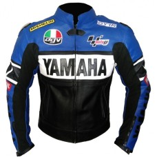 Yamaha YZF-R1 46 Blue Black Motorbike Leather Jacket Men