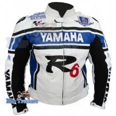 Yamaha YZF-R1 YZF-R6 White Motorbike Scooter Leather Jacket Men