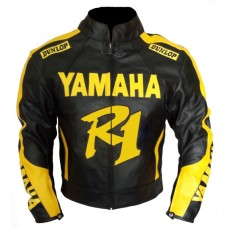 YZF Yamaha R1 R6 Motorbike Men's BLack Yellow Leather Jacket