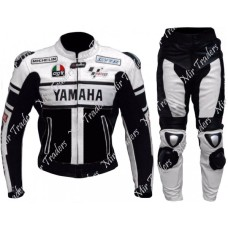 New Yamaha Black/White Valentino Rossi Motorbike Leather Suit