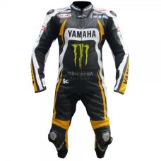 YAMAHA MONSTER ENERGY MOTORBIKE MOTOGP STREET BIKER LEATHER SUIT PADDED