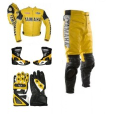 Yamaha motorcycle yellow biker leather racing suit Set